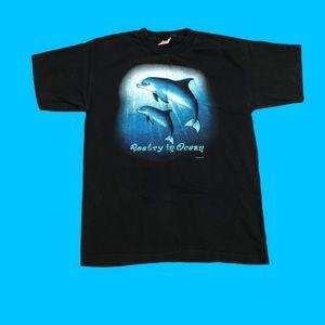 Vintage 90s Dolphin Poetry in Ocean T-Shirt